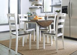 woodanville round drm drop leaf table 4 dining room side chairs