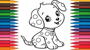 Drawing Puppy How To Draw Dog Colors Picture Coloring Book Fun