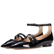 black patent leather mary jane shoes three strap pointy toe flats image 1