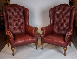 image of red leather wingback chair