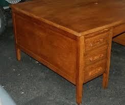 artisans of the valley golden oak partners desk after restoration left side