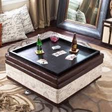 Armen Living Corbett Leather And Linen Coffee Table Storage Ottoman