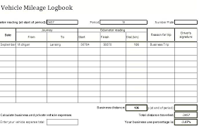 Free Vehicle Mileage Log Book Template Excel Business Logbook Travel
