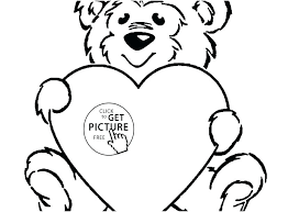 Teddy Bear With Heart Coloring Pages Printable Jokingartcom Teddy