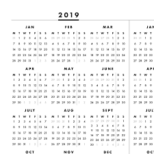 2019 2020 At A Glance One Page Printable Calendar Monday