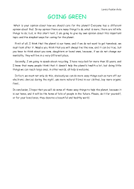opinion essay going green loreto padron avila going greenwhat is your opinion about how we