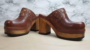 vtg 90s bongo brown leather chunky wood heels platform mules clogs hippie sz 7