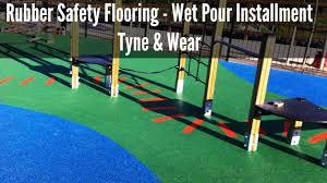 rubber safety flooring wet pour installment tyne wear