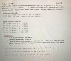 solved 6 points problem 1 π table