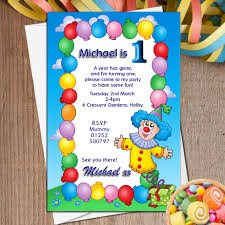 Balloon Birthday Invitations 10 Personalised Clown Balloons Birthday Party Invitations N12
