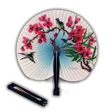 folding hand fan. two oriental small folding hand fans - round fan
