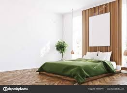 Weiß Und Holz Schlafzimmer Plakat Ecke Stockfoto Denisismagilov