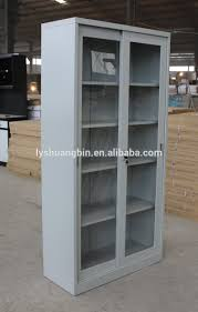 Bookshelf Filing Cabinet Steel Book Shelf With 2 Sliding Glass Door Knock Down Cabinet