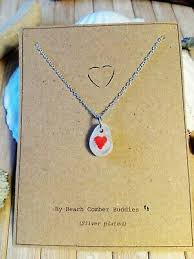 sea glass silver necklace with heart birthday present mothers day gift unique
