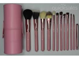 pink new mac 12 pcs kits pro cosmetic brushes makeup set with cylinder bag