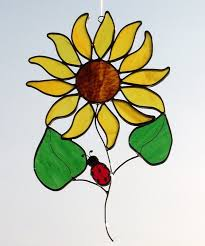 large sun flower ladybug sun catcher description this leaded stained glass
