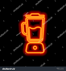 Neon Light Blender Simple Blender Icon Electronic Kitchen Mixer Stock Vector