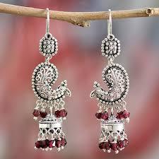 garnet chandelier earrings paisley peacock sterling silver and garnet chandelier earrings from