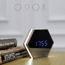 multi function hexagonal mirror digital alarm clock thermometer touch led night light makeup mirror gifts