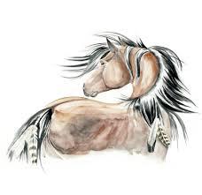 Wild Horse Mustang Realistic Original Watercolor By Fairysomnia
