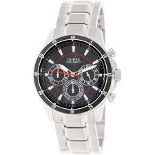 new guess watch for men chronograph black dial steel strap new guess watch for men chronograph black dial steel strap u0676g1