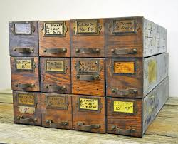 Antique Drawer Cabinet Lot Of 12 Antique Hardware Cabinet Drawer Industrial Wood And