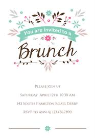 Online Print Invitations Flat Floral Free Brunch Lunch Invitation Template In