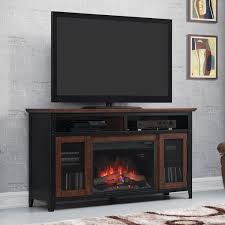 classicflame landis 59 inch electric fireplace media console with traditional log set old world