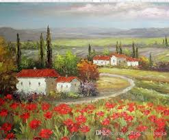 2018 italian tuscany farm homes valley red poppy field hand painted hd print landscape art oil painting on canvas multi sizes frame options from