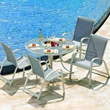 primera 5 piece aluminum patio dining set with 42 inch round glass top table