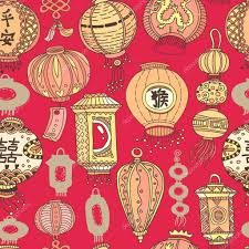 Graphic Pattern Adorable Seamless Graphic Pattern With Stylized Lanterns EPS48 Vector
