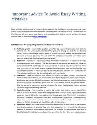 Essay On Advice Important Advice To Avoid Essay Writing Mistakes By