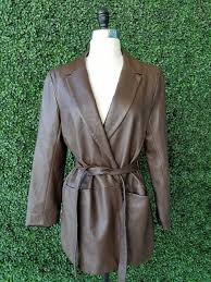 bcbg max azria brown leather belted long jacket blazer s