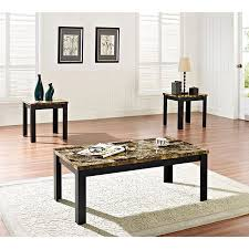 dark brown coffee table. Acme 3 Piece Finely Coffee And End Table Set, Dark Brown Faux Marble \u0026 Black L