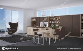 Moderne Grau Braune Küche Mit Holzelementen Großes Fenster Wi