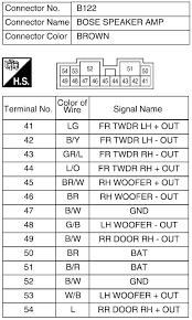 wire colour codes on 08 altima pre amp nissan forums nissan forum click image for larger version b122 bose speaker amp jpg views 4777