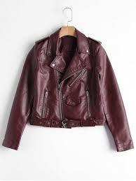 wide waistedzip up belted faux leather biker jacket wine red jackets coats xl faux leatherpolyester vuwoej
