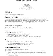 Resume Nurse Objective Nursing Student Resume Template Example Nurse