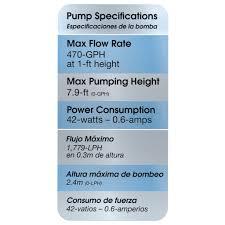 Fountain Pump Size Chart 500 Gph Fountain Pump Smartpond