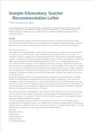 Letter Of Recommendation For Elementary Teacher