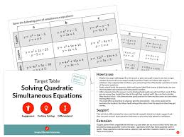 solving quadratic simultaneous equations target table