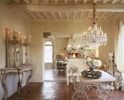 italian dining room ideas with terra cotta floor and luxury crystal chandelier