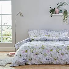 bianca arctic poppy fl print 100 cotton reversible duvet cover set white green double linens limited