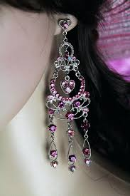 pink heart chandelier delicate silver filigree pink heart chandelier dangle post earrings pink heart crystal chandelier
