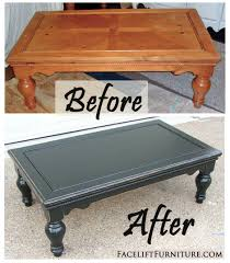 Spend this time at home to refresh your home decor style! Chunky Coffee Table In Distressed Black Before After Painted Coffee Tables Coffee Table Upcycle Coffee Table Makeover