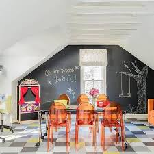 Girls Playroom with Orange Sofa