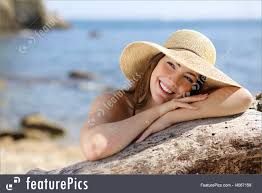 happy woman with white smile looking sideways on vacations royalty free stock picture