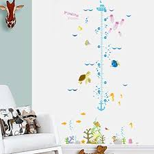 wall stickers ok kids cartoon fish height measure chart decor papers decal decoration waterproof pvc removable
