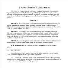 sponsorship agreement sample sponsorship agreement 12 documents in pdf word