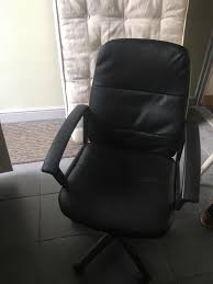 large black faux leather desk chair